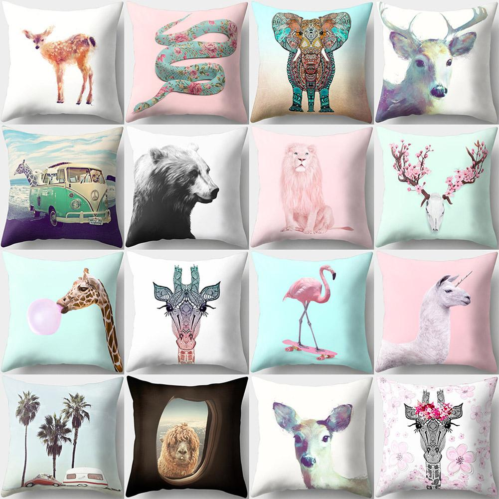 1PC Animal Giraffes Goat Pattern Throw Pillow Case Waist Cushion Cover Polyester Peachskin Decorative Pillowcase Home Sofa Decor