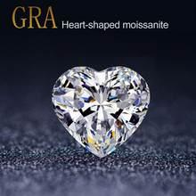 Pierre précieuse Moissanite en vrac, diamant en forme de cœur, couleur D, 1 Carat, 6.5mm, VVS1, clair, pour bijoux, bague avec certificat GRA