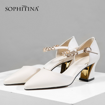 SOPHITINA Office Women's Sandals High Quality Cow Leather Ankle Buckle Strap Fashion Concise Shoes Elegant Stylish Sandals SO449