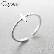 Ckysee 925 prata esterlina cruz folhas anéis de penas oco ajustável prata esterlina anel de dedo de casamento para presente feminino