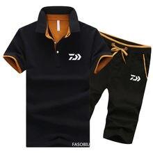 Daiwa-traje de pesca para hombre, ropa deportiva, pantalones cortos para exteriores, de secado rápido Camiseta deportiva, 2 piezas