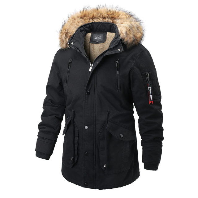 Куртка парка мужская со съёмным капюшоном тёплая подкладка мех на капюшоне 2