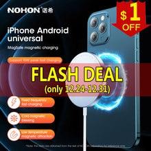 NOHON manyetik kablosuz şarj iPhone 12 Pro MAX 12 Mini 15W hızlı şarj Magsafe için cep telefonu şarj cihazı samsung Xiaomi
