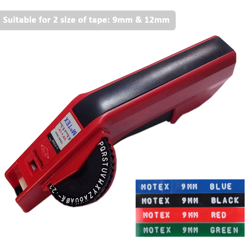 Motex E-5500 Manual Label Maker Labeler For 9mm And 12mm DYMO 3D Embossing PVC Plastic Label Tape