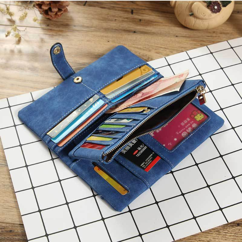 Fashion retro lace women's wallet frosted long buckle solid color ladies wallet clutch womens wallets small wallet money cute