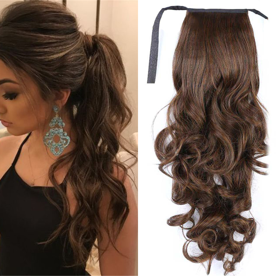 SHANGKE Long Curly Fake Hair Pieces Drawstring Ponytail Extensions For Women Synthetic High Temperature Fiber Hair Extensions