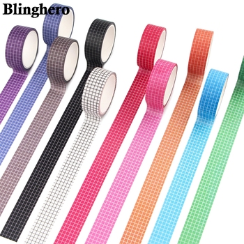 CA1405 Grid Washi Tape Kawaii Decorative Adhesive Tape Solid Color Masking Tape For Stickers Scrapbooking DIY Stationery Tape winzige 15mm 3m washi tape diy planner decorative masking tape stickers scrapbooking bullet journal stickers cute stationery