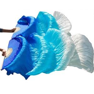 Image 3 - Abanico para danza del vientre 100% de seda auténtica/imitación de seda, velo de seda Natural pura de alta calidad, 1 par de abanicos del baile hechos a mano
