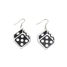 Hip Hop Personality Dice Drop Earrings Acrylic Geometric Women Fashion Night Club Jewelry