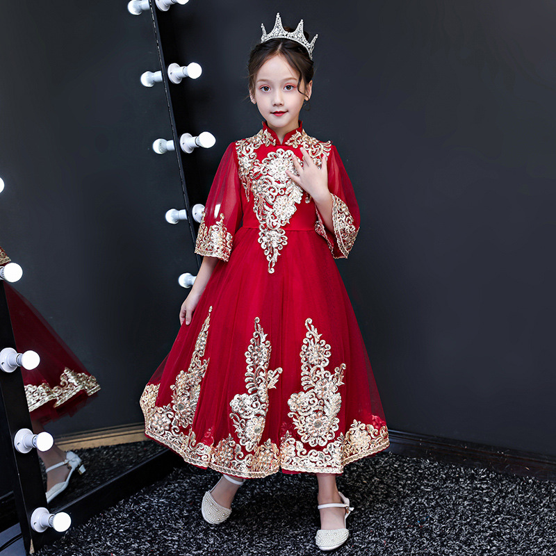 2019-Flower Boys/Flower Girls Chinese Style Wedding Dress Costume Photography For Children Formal Dress Princess Dress Small Hos