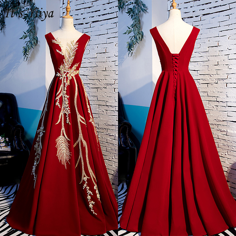 It's Yiiya Evening Dress 2019 Burgundy Floral Print Sleeveless V-Neck A-Line Robe De Soiree Women Party Formal Long Dress E1003