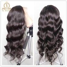13x6 парики на шнурках 180 250 плотность свободные волнистые человеческие волосы парик для женщин предварительно сорвал Малайзия Remy Детские волосы черный NaBeauty