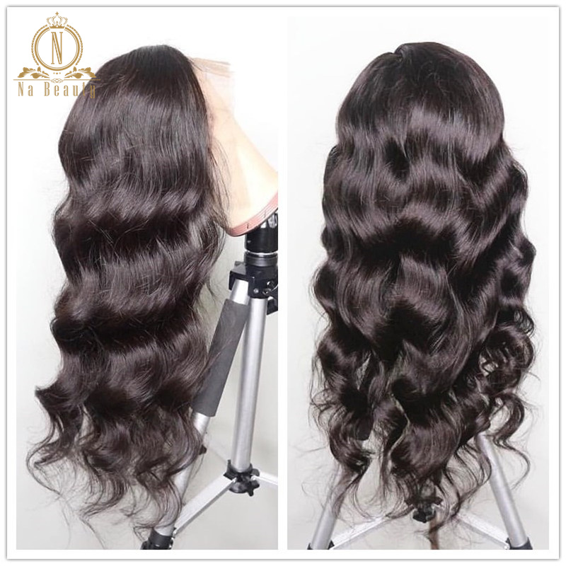 13x6 Lace Front Wigs 180 250 Density Loose Body Wave Human Hair Wig For Women Pre Plucked Malaysia Remy Baby Hair Black NaBeauty