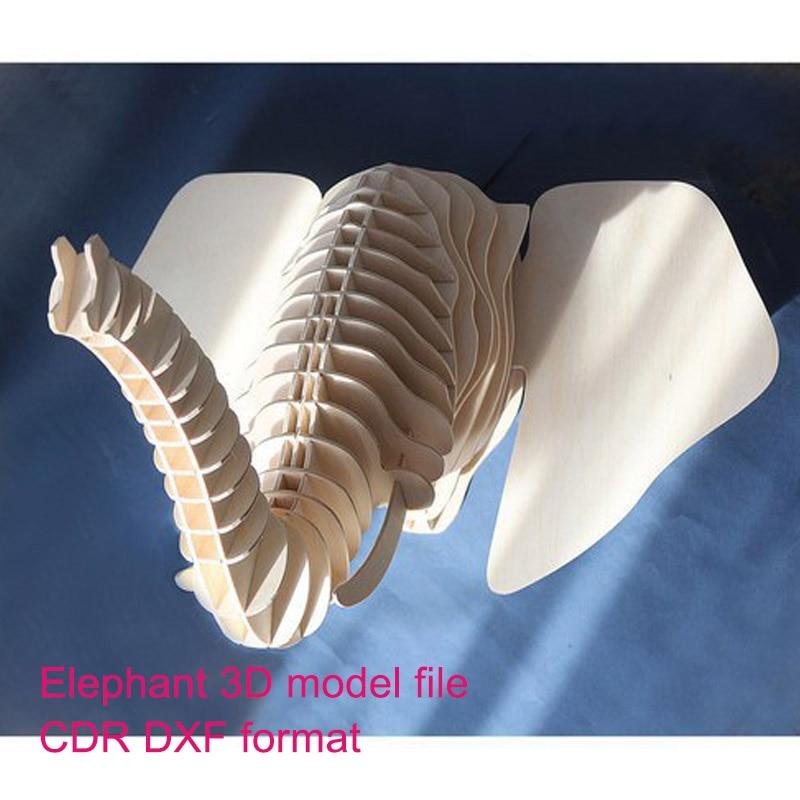 Elephant Simple 3D Model CNC Laser Cutting File CDR Format File Vector Design Drawing