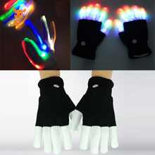 1pair Kid Adult LED Flashing Magic Glove Glow In The Dark Toys Light Up Finger Tip Lighting Toys for Children Novelty Party Toys cheap NYLON Sleep Light Projection Lamp 3 years old Unisex Don t put in the mouth keep away from the Fire Magic Glove light