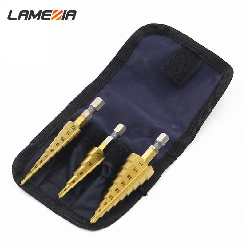 LAMEZIA 3pc Hss Step Cone Taper Drill Bit Set Metal Hole Cutter Metric 4-12/20/32mm 1/4 Titanium Coated For Metalworking