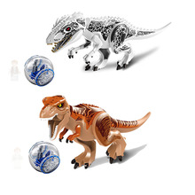 Jurassic World 2 Park Tyrannosaurus Indominus Rex Indoraptor Building Blocks Dinosaur Figures Bricks Toys Compatible Legoings 10 in 1 jurassic dinosaurs legoings tyrannosaurus rex movie sets models building blocks bricks toys world of park figures bkx101