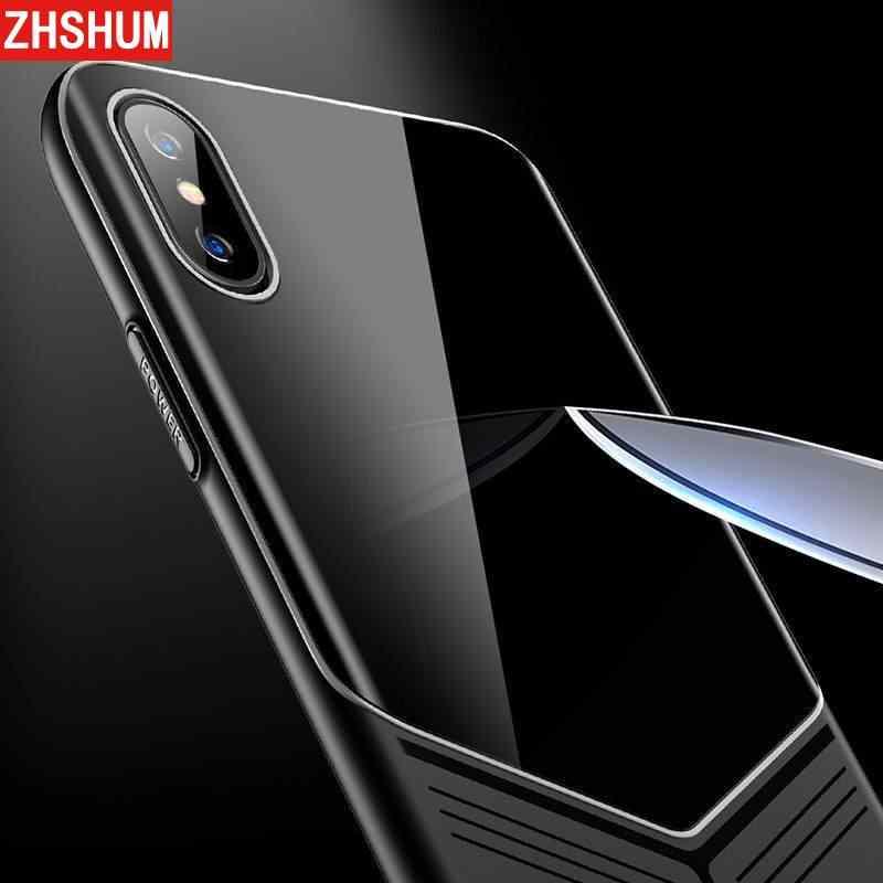 Funda de empalme de lujo para Iphone XS MAX XR 3 en 1 funda de silicona suave de vidrio templado de plástico para iphone X XS X 10 Fundas