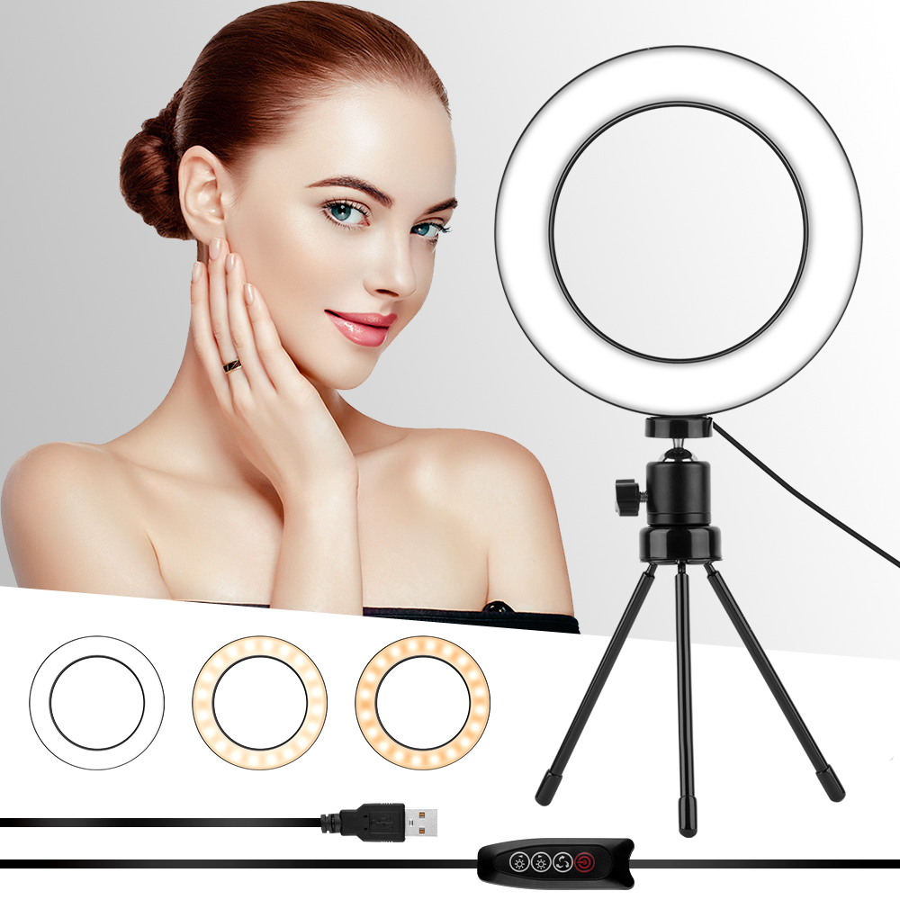 6.2/10 Inch LED Photography Selfie Ring Light Dimmable Camera Phone Ring Lamp With Table Tripods For Makeup Video Live Studio