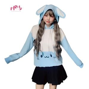 Image 2 - Carino Coniglio Delle Donne Bianco Felpe kawaii Orecchie da Coniglio Carino Grafici Felpe Giapponese Harajuku Dolce Delle Ragazze Rosa Blu Pullover