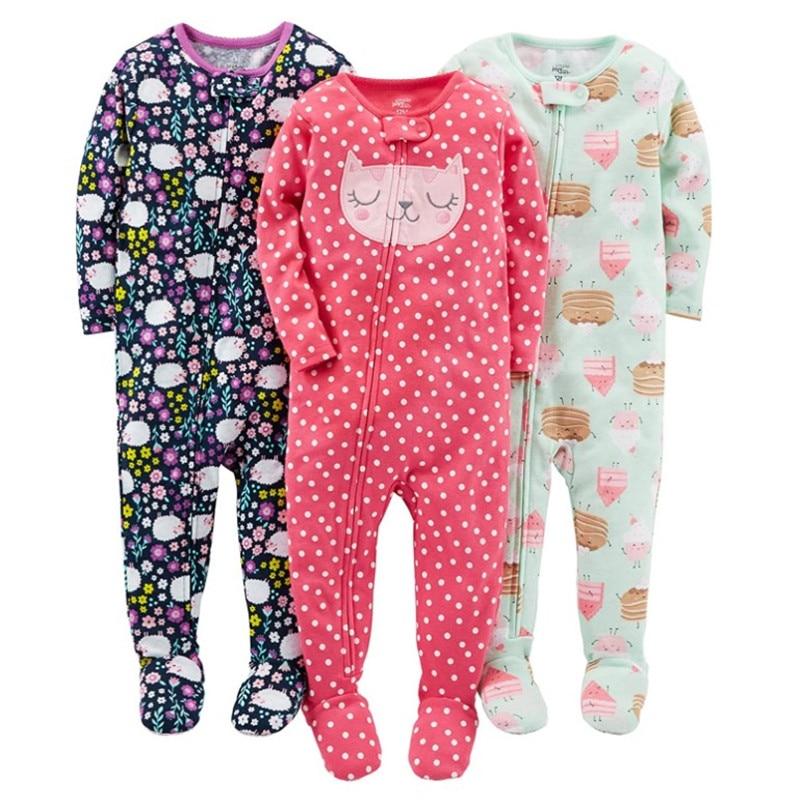 Warm summer cotton jumpsuit romper thread tight bodysuit pajamas boys and girls baby zipper bag feet robe 5