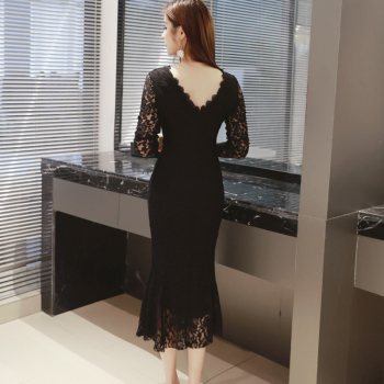 Women Summer Lace Dresses 2020 O-neck Elegant Sexy Mid-Calf Sheath Long Sleeve Formal Party Black Long White Dress Women Clothes 3