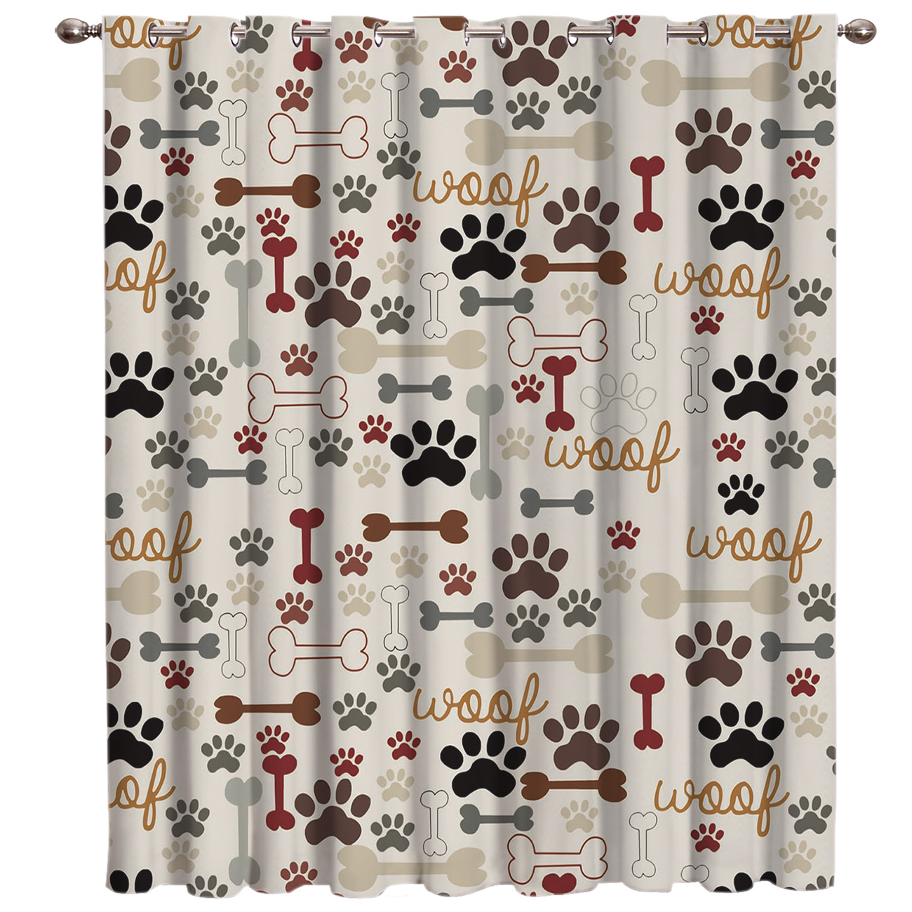 Cartoon Dog Footprints Bones Animals Window Treatments Curtains Valance Living Room Decor Bathroom Kitchen Bedroom Outdoor