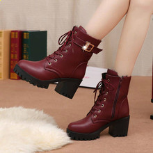 LZJ HOT Autumn Fashion Women Boots High Heels Platform Buckle Lace Up Zip PU Leather Short Booties B