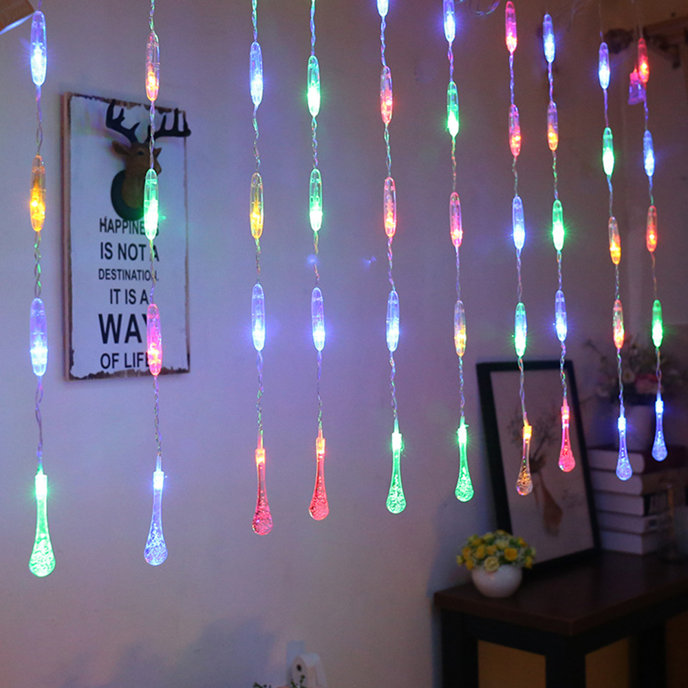 LED 2.5MX0.6M Water Droplets Curtain String Lights 220V EU Christmas Garlands Fairy Light Outdoor For Party Holiday Decoration