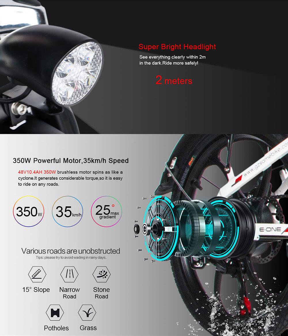 Samebike 20LVXD30 48V 10.4AH 350W 25km/h Electric Bicycle Foldable Electric E-Bike 30-40km Mileage
