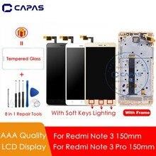 ل Redmi ملاحظة 3 150 مللي متر شاشة الكريستال السائل + إطار مجموعة المحولات الرقمية لشاشة تعمل بلمس ل Xiaomi Redmi ملاحظة 3 برو LCD غيار للشاشة