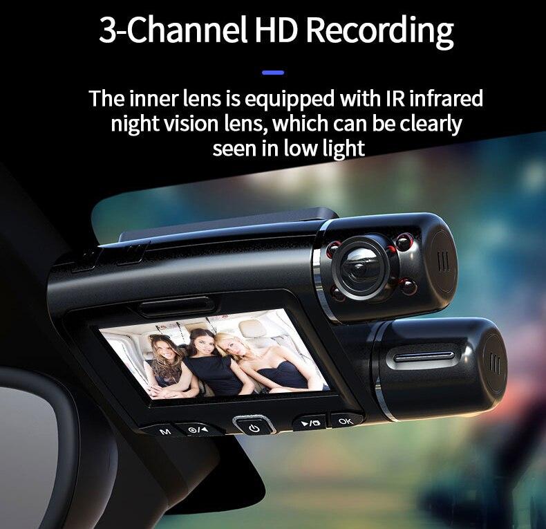 Car DVR Camera Dash Cam WiFi GPS ADAS Dashcam Three Dual Channel Full HD 1080P Driving Recorder Motion Detection 4K Night Vision
