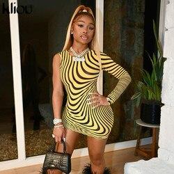 Kliou One Shoulder Zebra Print Skinny Mini Dresses Women Single Sleeve Mesh Fabric Sexy Club Party Clothes Street Style Outfits