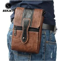 Casual Men Waist Bags Vintage PU Leather Travel Cell Phone Bags 6.3Inch Small Waist Bags Fanny Pack Belt Bag For Men CJ743