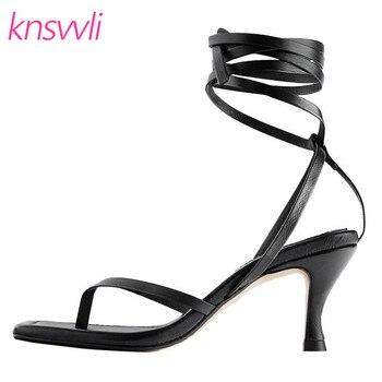 Ankle Cross Tied High Heels Gladiator Sandals Women Black Brown Flip Flops Sandalia Feminina Stiletto Summer Party Shoes Woman