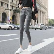 Женские джинсы джинсовые брюки эластичные хлопковые карандаш