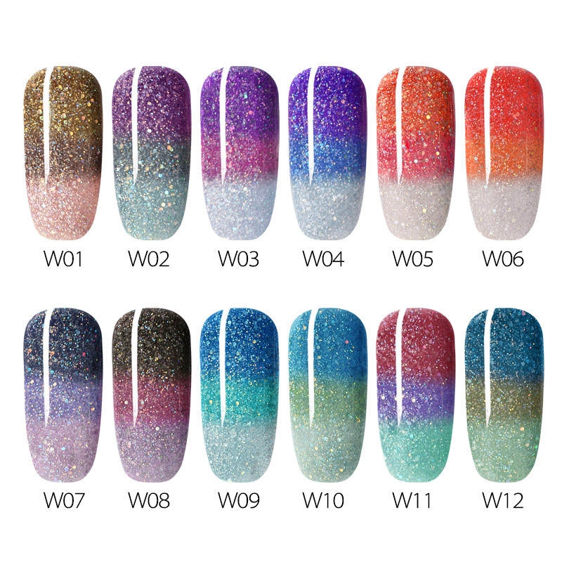 12pcs/kit Venalisa Magic Thermal Chameleon Nail Gel Polish Temperature Color Changeable Soak Off UV LED Gel Polish Glitter Gel