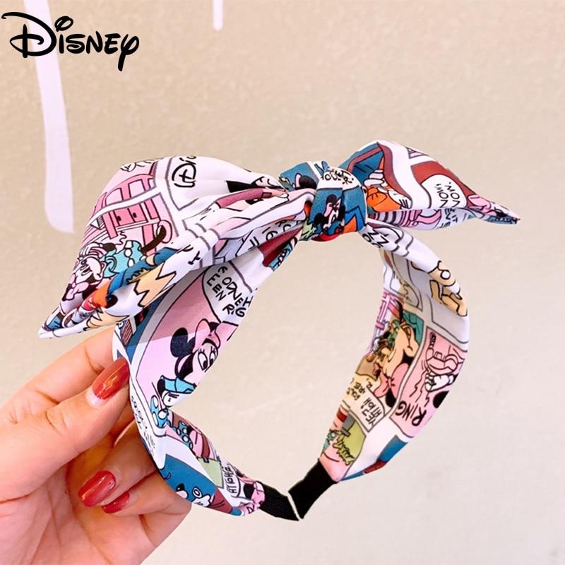 Disney Cute Cartoon Women Hair Hoops Printing Letter Bowknot Headbands New Fashion Girls Hair Band Accessories Mickey Headdress