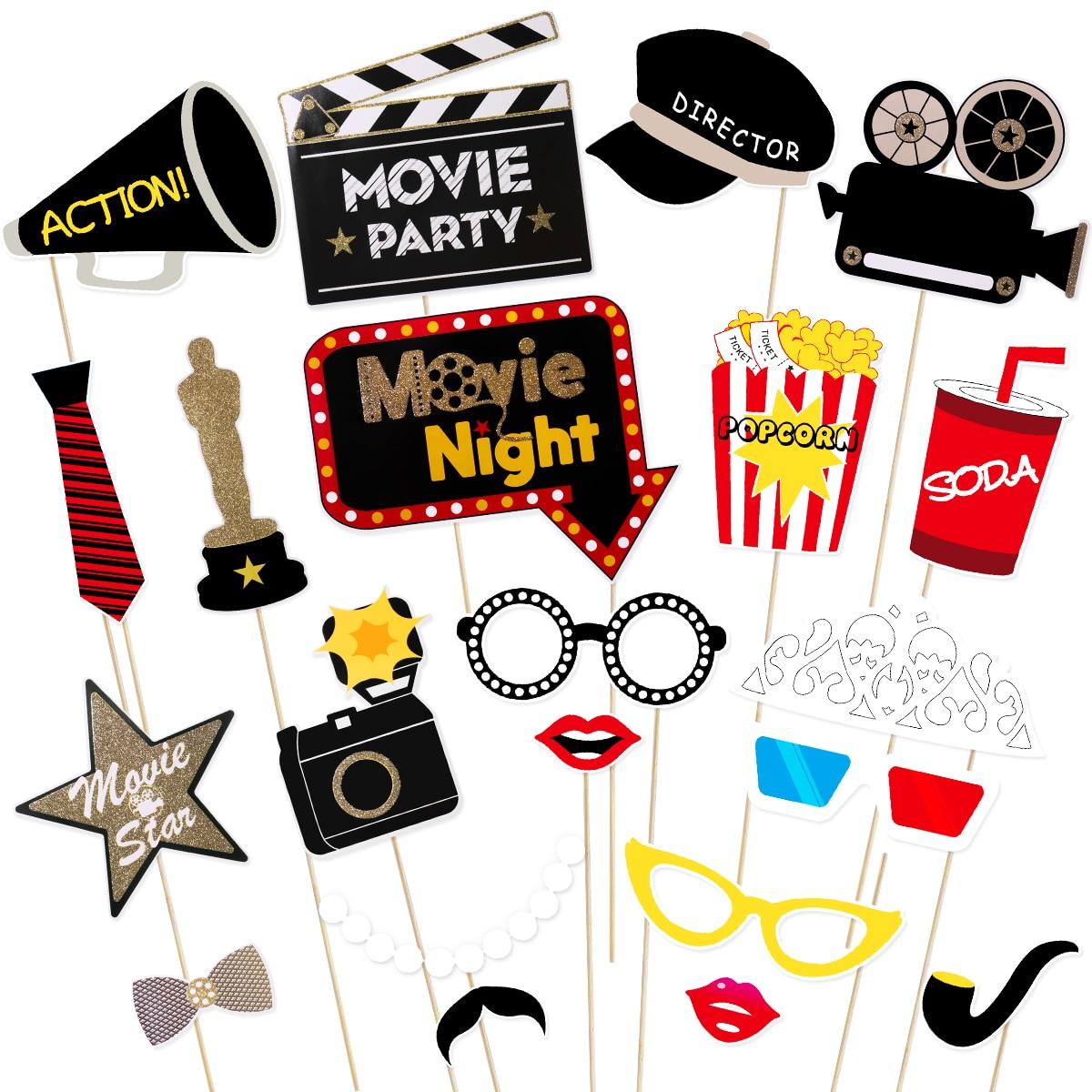 Tinksky 21Pcs Hollywood Stil Partei Maske Foto Requisiten Bachelorette Party Hochzeit Decor Schnurrbart Geburtstag Partei Liefert