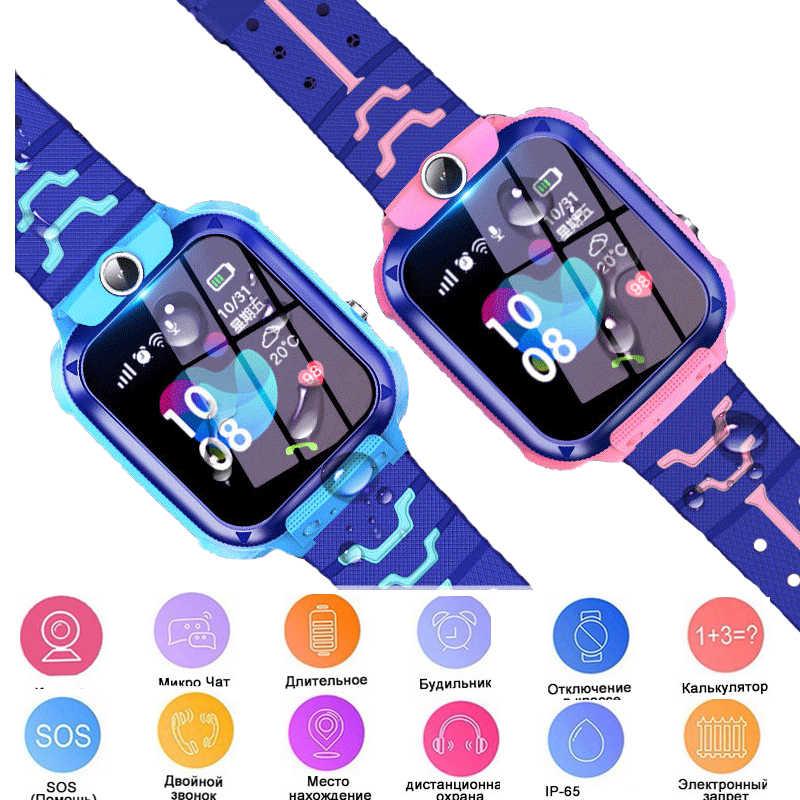 Montre connectée SOS pour enfants, Smartwatch étanche IP67, avec téléphone, carte Sim, Photo, cadeau pour garçons et filles, 2021, Q12