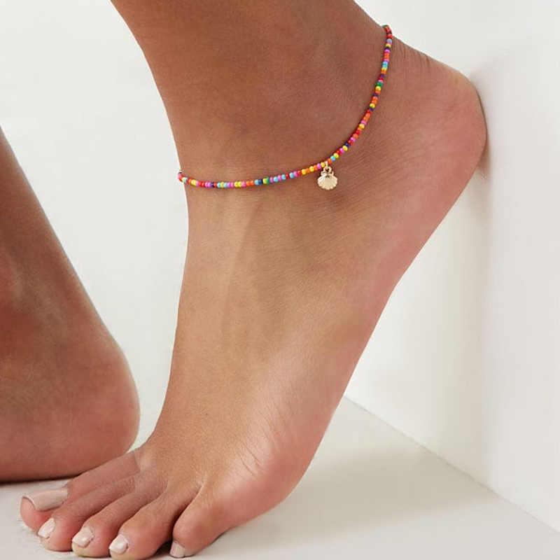 แฟชั่นที่มีสีสันลูกปัด Cowrie Shell สำหรับผู้หญิงสร้อยข้อมือขาเงินทองข้อเท้าเท้าเครื่องประดับ