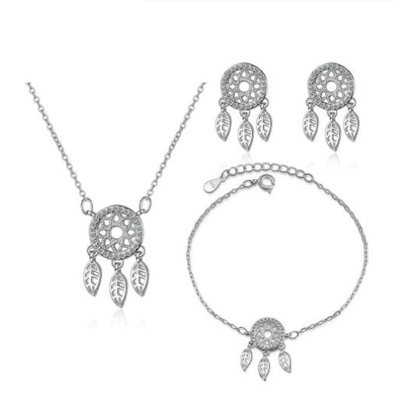 925 Sterling Silver Fine Jewelry Sets Micro Zirconia Dream Catcher Necklace+Earrings+Bracelet Bijoux For Women Gift