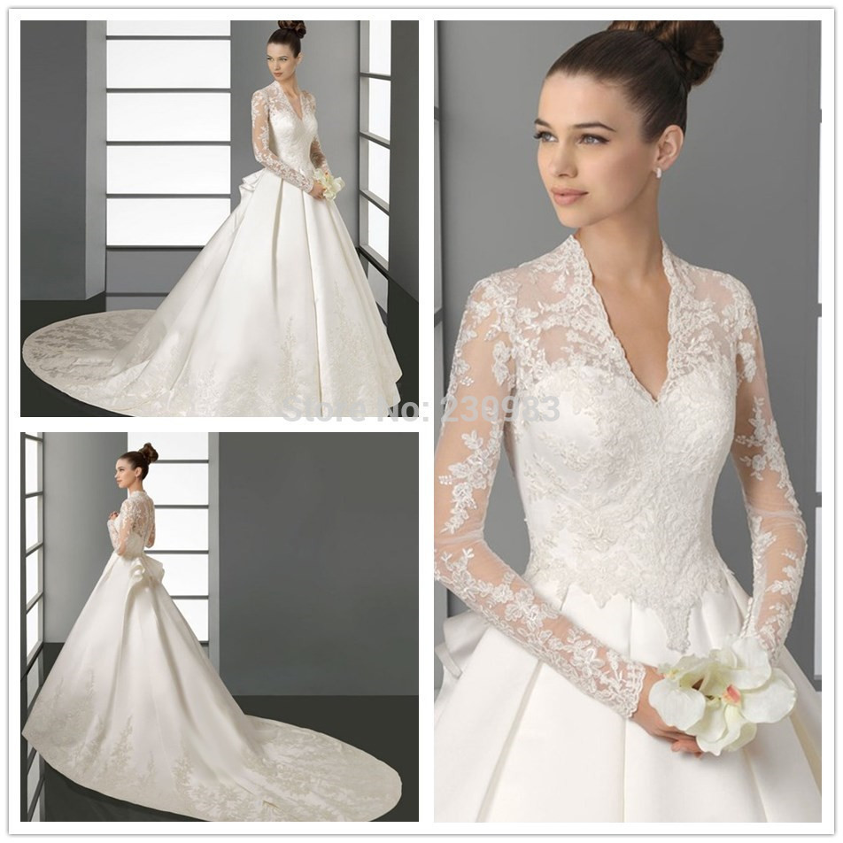 High Quality A-Line Sheer Long Sleeve Applique/Lace Satin Muslim Wedding Dresses 2018 Chapel Train Bridal Gowns Free ShippingSpr