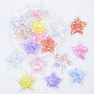 32Pcs 36mm Glitter Star Transparent Plastic Filling Sequin Appliques for DIY Headwear Hair Clips Bow Decor Accessory Patches L05(China)