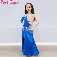 Professional Child Belly Dance Costume Sets kids belly dancing Girls Bollywood indian Performance Clothing Bra + Long skirt 2pcs