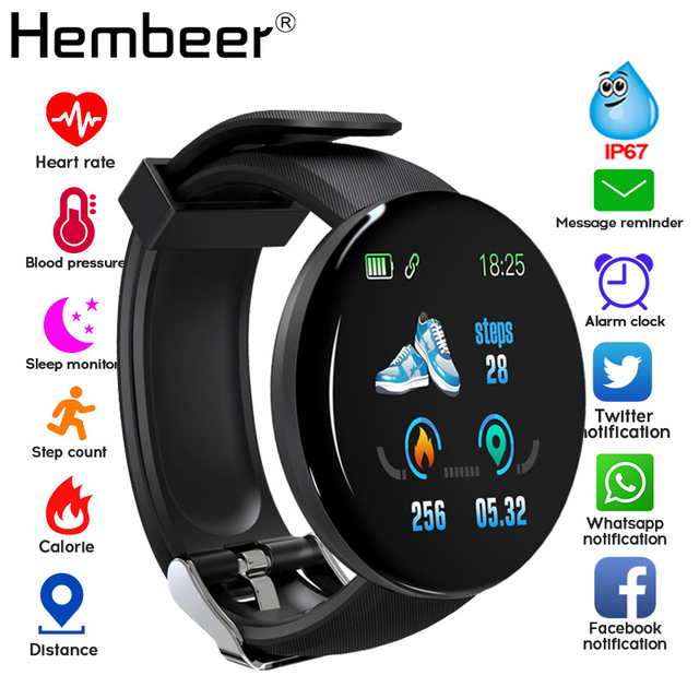 2019 بلوتوث ساعة ذكية الرجال ضغط الدم جولة Smartwatch النساء ووتش D للماء جهاز تعقب للياقة البدنية ال WhatsApp لالروبوت iOS
