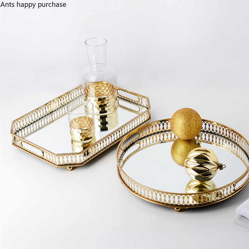 Iron Art Gold Plating Glass Storage Mirror Bottom Tray Living Room