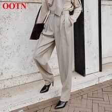 OOTN Pantalones elegantes de cintura alta para mujer, pantalón plisado informal, holgado, hasta el tobillo, color caqui, para oficina, Primavera, 2020