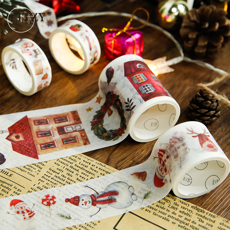 6pc/box Christmas Decorative Washi Tape Adhesive Tape DIY Scrapbooking Sticker Label Kawaii Masking Tape Stationery Student Gift