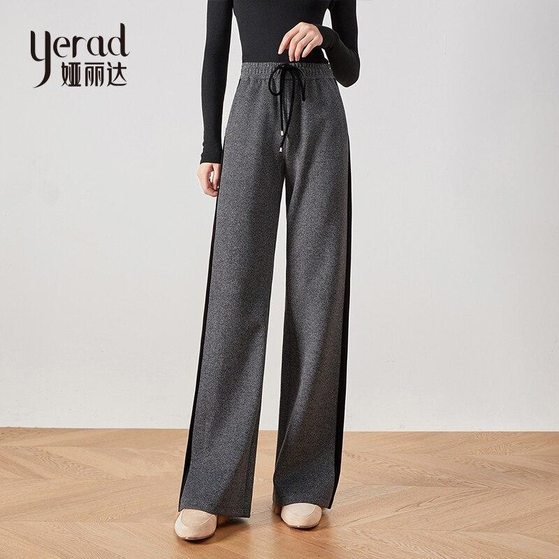YERAD hiver femmes pantalons à jambes larges décontracté lâche taille élastique pantalon en velours cordon pantalon à rayures latérales